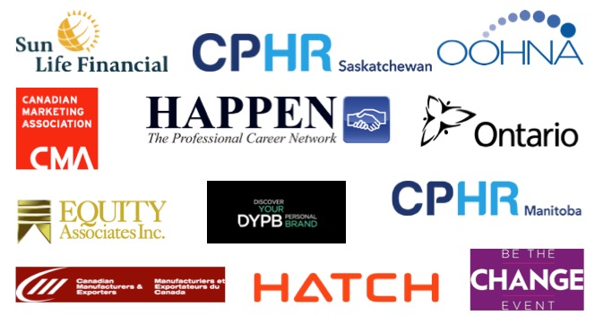 Logos of companies Jason Reid has spoken to many organizations. They include CPHR Manitoba, and Saskachewan, Discover your Personal Brand, Hatch, Canadian Manufacturers and Exporters, Equity Associates, SunLife, Government of Ontario and more.